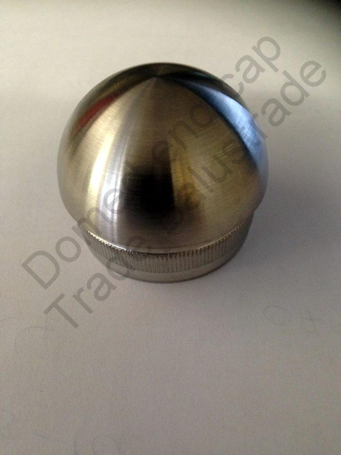 Domed end cap for tube trade balustrade glass